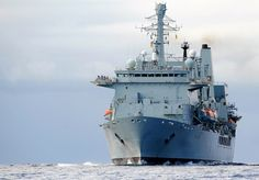 Royal Navy's Fleet Auxiliary ship Fort Victoria on her way to Birkenhead shipyard, located in Liverpool, UK. The ship will undergo a makeover worth up to £47 million.RFA Fort Victoria is a Fort Class combined fleet stores ship and tanker tasked with providing ammunition, fuel, food and other supplies to Royal Navy vessels around the world.