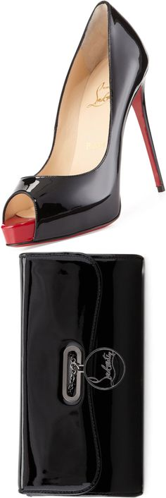 Christian Louboutin New Very Prive Patent Red Sole Pump and Christian Louboutin Riviera Patent Clutch Bag