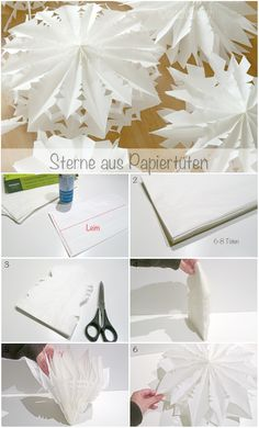 Stars from paper bags - HANDMADE culture Sterne aus Papiertüten - HANDMADE Kultur You can conjure up beautiful paper stars from ordinary sandwich bags within five minutes. Diy Snowflake Decorations, Christmas Decorations, Christmas Snowflakes, Christmas Time, Origami Paper Art, Paper Crafts, Papier Diy, Yule, Diy Crafts For Kids