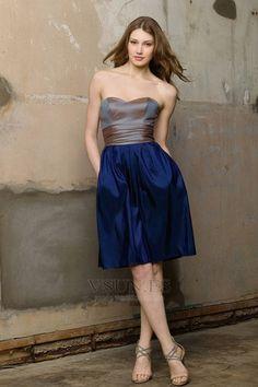 Vestido de dama de honor Hasta la Rodilla Informal Corte-A tafetán azul marino