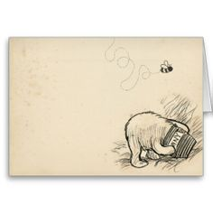 Original Classic Pooh Bear Illustration Card