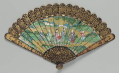 19th century, China - Brisé fan - Lacquered wood