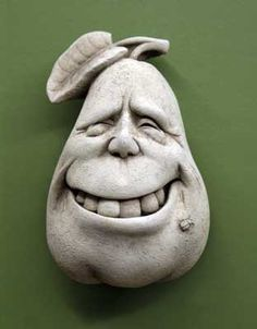 Peary Winkle by George #Carruth #pear #fruit #kitchen #gift #stone #handcrafted #madeinAmerica #handcaststone #face #smile #teeth http://www.carruthstudio.com/categories/Veggie-Series.aspx/?source=pinterest