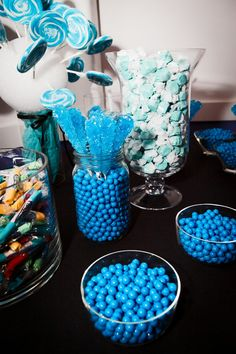 We love how the blue pops against the black tablecloth :) http://www.candy.com/Blue_c_17.html