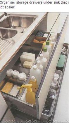 Drawer organizer under kitchen sink