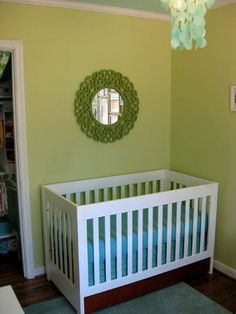 No sew crib skirt, I'll probably still sew mine together but a great simple tutorial if you want to make a crib skirt that'll be easy to pull off and wash.