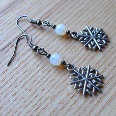 Tibetan Silver Snowflake Charm and Glass Bead Earrings £3.50