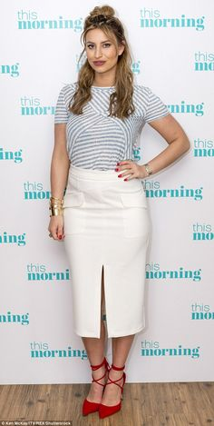 On-air style: She wore vampy red strappy heels earlier on to compliment her nautical outfi...