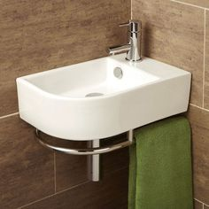 Buy this stylish HIB Malo Temoli Cloakroom Basin With Towel Rail at discounted rate. Manufacturing Code of this Cloakroom Basin is Corner Basin, Corner Sink Bathroom, Bathroom Sink Drain, Bathroom Sink Vanity, Toilet Vanity, Bathroom Store, Cloakroom Basin, Downstairs Cloakroom, Downstairs Toilet