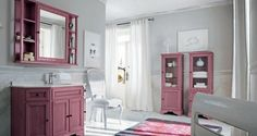 Cute and Sweet Pink Bathroom Ideas : Wooden Pink Cabinet In White Bathroom Pink Bathrooms Designs, Grey Bathrooms, Modern Bathroom, Bathroom Ideas, Bathroom Pink, Classic Bathroom, Bathroom Interior, Pink Cabinets, White Bathroom Cabinets