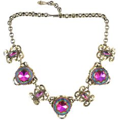 Preowned Schiaparelli Necklace ($650) ❤ liked on Polyvore featuring jewelry, necklaces, multiple, round necklace, pre owned jewelry, rhinestone jewelry, long necklace and gold tone necklace