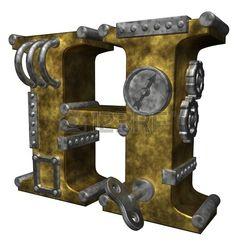 Carta de steampunk h en ilustración de fondo blanco - 3d photo