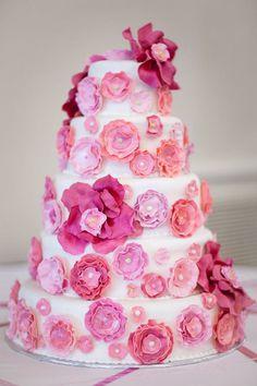 Fun Pink wedding cake