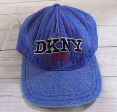 Vintage Snapback Baseball Cap Collection · DKNY USA Vtg 90s Distressed Denim  Embroidered Fashion Casual Ball Cap Hat OSFM  DKNY   ca0e62b8d535