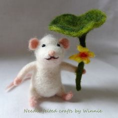 White mouse holding lotus leaf handmade needle felted OOAK wool animal by FunFeltByWinnie on Etsy