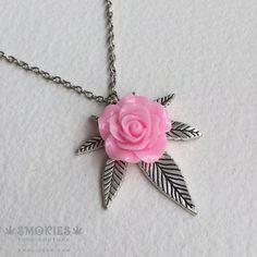 Marijuana Silver Pink Rose necklace or earrings GIRLY , pink marijuana necklace, silver, pink, marijuana jewelry, jewelry, cannabis