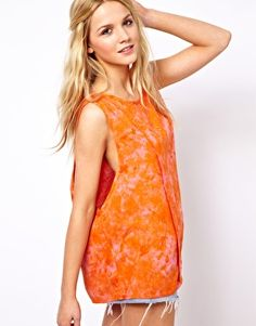 Image 1 of ASOS Tank with Drop Armhole in Tie Dye Print