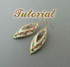 New* PDF Beaded Earrings Tutorial, Earrings Peyote Pattern, Beadwork Tutorial, Seed Bead Earrings, Russian Leaf Earrings Beading pattern