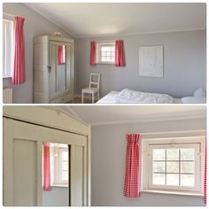 Simple and yet inviting bedrooms with the red gingham curtains. Great for a beach cottage look.