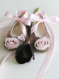 Baby, Toddler, Girls Shoes, Couture Ballet Slipper, Pink Toile de Joey - Baby Souls, Coco Series