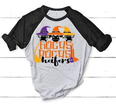 Excited to share this item from my shop: Hocus Pocus heifers raglan - funny t shirt sayings - funny t shirt - t-shirt with saying - funny shirts - cow shirts - baseball t shirt Funny T Shirt Sayings, Funny Tee Shirts, T Shirts With Sayings, Cow Shirt, Funny Mugs, Hocus Pocus, Mom Humor, Southern, Etsy Shop