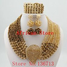 Newest nigerian wedding african beads jewelry sets crystal flower necklace for women 2016 new mixed color fine jewelry L214