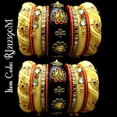 Beautiful Rajputi chooda with twisted bangle design, best bridal bangle designs, Rajputi kada, Punjabi bridal bangle pairs, Personalized rajwadi chooda Chuda Bangles, Wedding Chura, Bridal Chuda, Bridal Bangles, Indian Attire, Bangs, Emerald, Colorful, Room