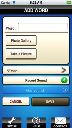 My Words ($9.99 - sale $4.99 on 8/ Create your own picture and sound dictionary for special kids. Can be used as a communication device.This app does not come with words since this is vocabulary for each special child. The app has the functionality to add your own words with audio and picture and organize the words under group names. 'Share Words' feature lets you download words from public domain and also upload your words to your account or public words list.