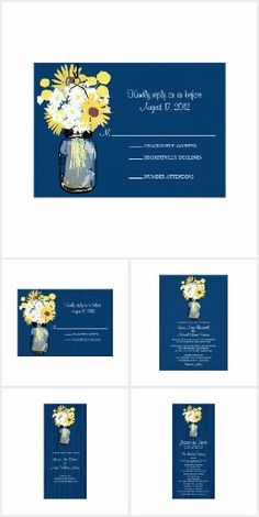 """#36 -Blue Barn Mason Jar Wedding Invite Set. Navy Blue rustic old wood grain panel background against the hanging Mason Jar with yellow Billy Balls, Sunflowers and wild white daisies. Matching products: Table Number Cards, Thank You notes, Favor Stickers, Wedding Ceremony Program, Reception Cocktail Napkins, stamps, labels and more...--**EXPLORE """"Time Saving Ready to Go"""" Theme Matching Wedding Invitation Sets. GO TO ... http://www.zazzle.com/weddinginvitationkit"""