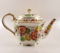 Sadler China Vintage Floral Garden Hexagonal Teapot #2521