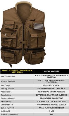 Vests 65982: Frogg Toggs Toadskinz™ Hellbender™ Fly Fishing Pack Vest Stone Color Ntv35178 BUY IT NOW ONLY: $49.95