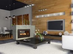 Make Your Room Be Modern With The Contemporary Gas Fireplace Design : Contemporary Gas Wall Fireplace Design With Wood Ideas House Design, Home, Freestanding Fireplace, Contemporary Gas Fireplace, Contemporary Fireplace Designs, Indoor Fireplace, Modern Fireplace, Small Space Living, Gas Wall Fireplace