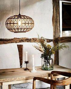 Madam Stoltz Hanglamp Bamboe Naturel Rond 48 x Rattan Pendant Light, Pendant Lamp, Beach House Lighting, Bamboo Structure, Deco Originale, Handmade Lamps, Style Deco, Modern Industrial, Light Shades