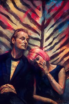 of Alice Zhang Lost in Translation, Bill Murray & Scarlett Johansson.Lost in Translation, Bill Murray & Scarlett Johansson. Bill Murray, Alice, Illustrator, Sofia Coppola, Alternative Movie Posters, Fan Art, Cult Movies, Art Series, Pulp Fiction