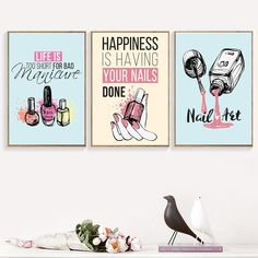 Cartoon Nail Polish Quotes Wall Art Canvas Painting Nordic Posters And Prints Pop Art Salon Wall Pictures For Girl Bedroom Decor – Nordic Wall Decor Home Nail Salon, Nail Salon Design, Salon Art, Canvas Art Quotes, Wall Art Quotes, Canvas Wall Art, Quote Paintings, Bedroom Paintings, Canvas Prints