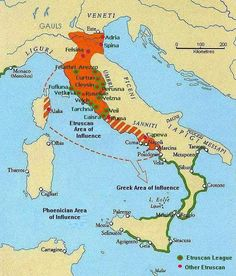 Seen here is a map of the Etruscan territory. You can see just how massive and expansive the territory is in the orange area that's taking up all of Northern Italy and the Western coast.
