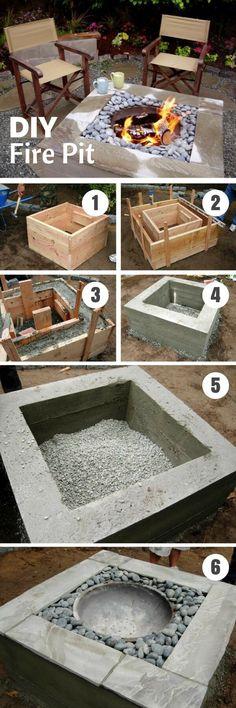Simple DIY Backyard Concrete Fire Pit #concretegarden