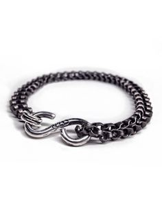 Handmade sterling clasp with double gunmetal chain bracelet