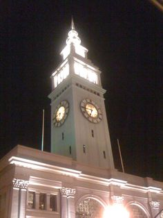 The Ferry Building at night in San Francisco, California.