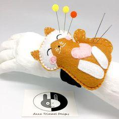 Pin cushion seamstress gift Smiling yellow cat