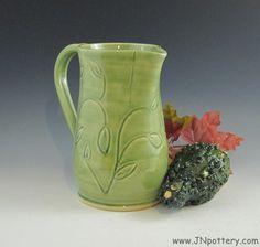 Wheel Thrown Ceramic Pitcher Stoneware Pouring Vessel by JNpottery