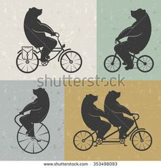Vintage Illustration bear on a bike with Grunge effect. Funny bear ride a…
