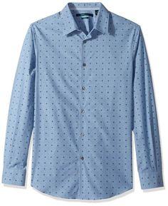 1b0d867f8f Perry Ellis NEW Aegean Blue Mens Size 2XL   LARGE Button Down Dot-Print  Shirt