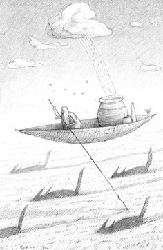 """Shaun Tan's graphite on paper """"Moral Lessons"""" depicts an impossible, dream-like scenario where a boat, normally on water, floats in thin air. The illustration reflects ideas of the uncanny, with the rain from a lone cloud falling into a pot as if magnetic. In addition to the flying boat, the mysterious land-animals roaming the field below resemble sharks in water emphasising surrealist notions of the subconscious mind and it's ability to create the unimaginable."""