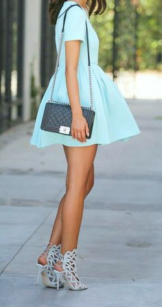 Mint Skater + Cutout Heels The Fashion: Gorgeous dress black fur Summer outfits Teen fashion Cute Dress! Clothes Casual Outift for • teens • movies • girls • women •. summer • fall • spring • winter • outfit ideas • dates • school • parties mint cute sexy ethnic skirt