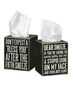 'Dear Sneeze' Tissue Box by Primitives by Kathy #zulily #zulilyfinds