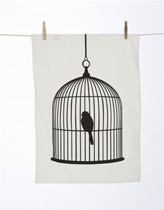bird cage tea towel