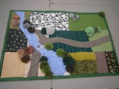 """Quilted/Knitted """"farm yard"""". Adorable baby blanket becomes play mat. Reversible = double the fun!"""