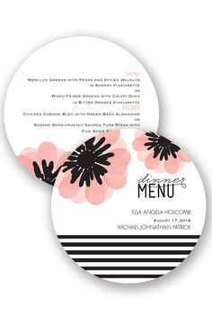 Mod Blooms Wedding Menu by David's Bridal | Follow us and start pinning pretty paper options - from invitations and save the dates to programs and table numbers - for a chance to win $1,000 to InvitationsbyDavidsBridal.com. Enter here: http://sweeps.piqora.com/rsvpready