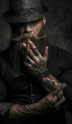 "jsc-best-models: "" Kmiec "" – coiffures et barbe hommes Bart Tattoo, Hair And Beard Styles, Hair Styles, Smoke Art, Bearded Men, Mustache, Portrait Photography, Dark Art Photography, Mens Fashion"